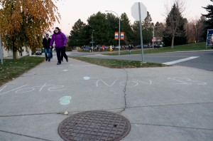 Anyone walking around campus had a hard time ignoring the vote. Rainbow footprints mark the way to TRU's first municipal polling station. (Alexis Stockford/The Omega)