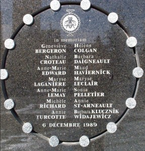 This plaque at the École Polytechnique in Montreal commemorates the 14 victims of the shooting. (Bobanny/Wikimedia Commons)