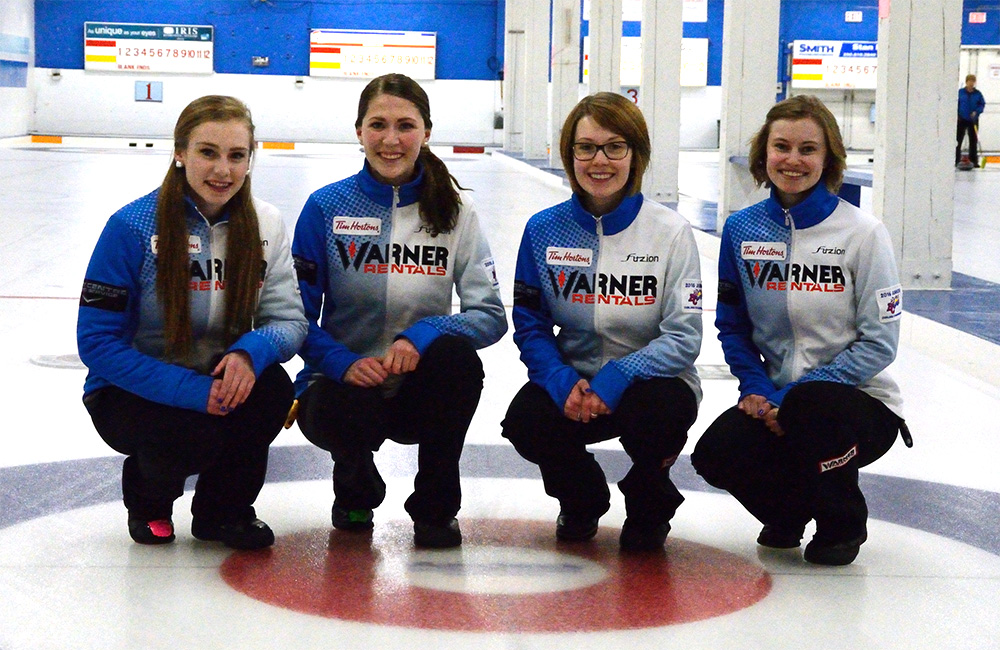 Skip Corryn Brown, third Erin Pincott, second Samantha Fisher and lead Sydney Fraser will compete in the national championships Jan. 24. (Tayla Scott/The Omega)