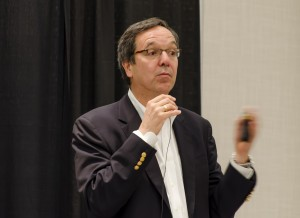 Gil Penalosa delivered a keynote presentation on Feb. 4 as part of his participation at the Community Innovation Lab. (Ryan Turcot/The Omega)