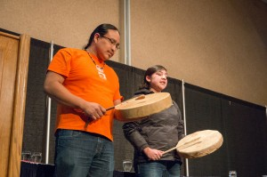 Drummers Vernie Clements and Marissa Eustache open the evening with traditional music. (Alexis Stockford/The Omega)
