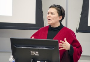 Jacinda Mack speaks about the Mount Polley disaster at TRU on March 3. (Ryan Turcot/The Omega)
