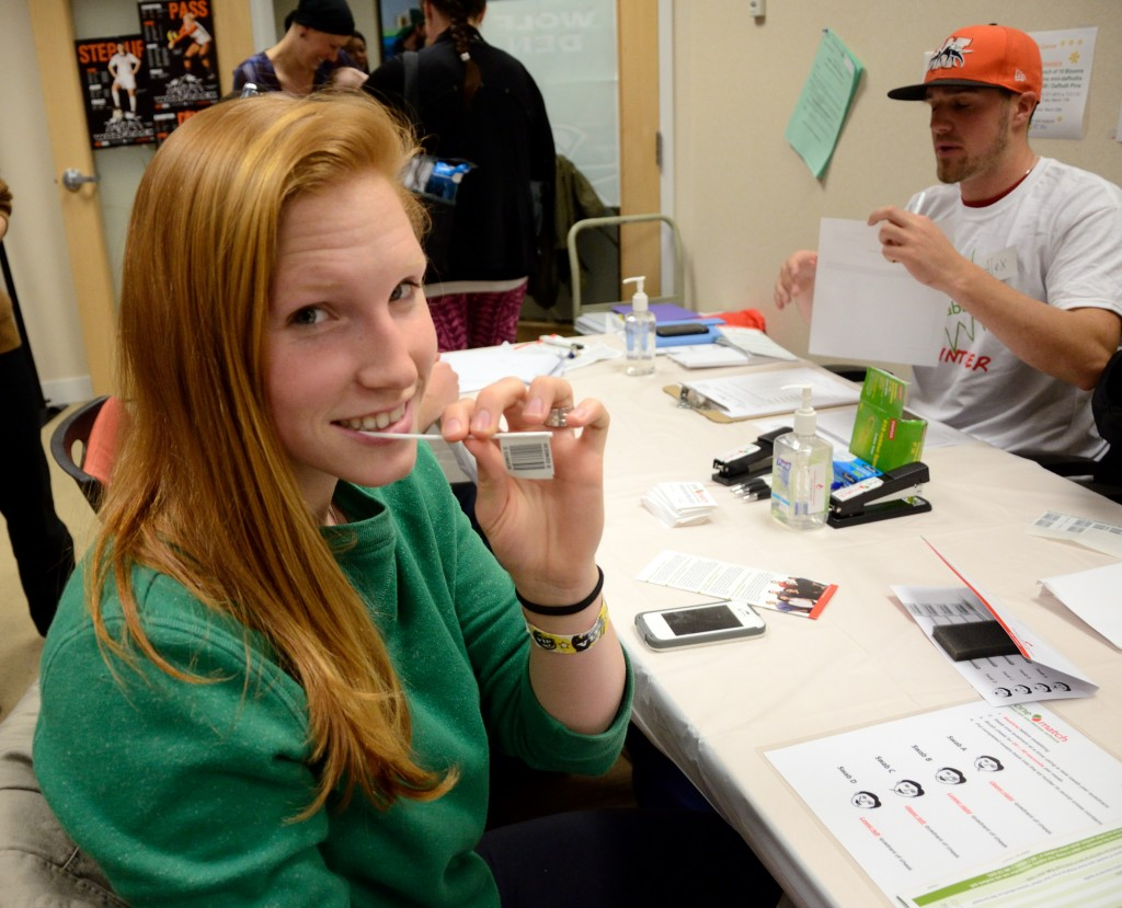 Basketball captain Jorri Duxbury was among those swabbed and registered to be a potential stem cell donor. (Tayla Scott/The Omega)