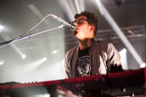 Anthony Carone of the Arkells thrashed around and played a mean keyboard for their show. (Kim Anderson/ The Omega)