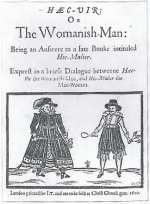 "The front cover of the book ""Haec Vir,"" or The Woman-ish Man."