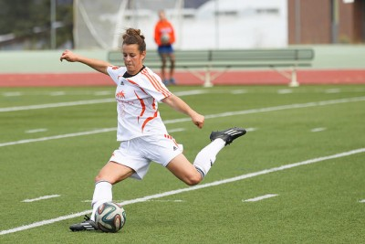 Athletes like Marlie Rittinger, seen here, have seen soccer struggle to grow their whole lives. (TRU Athletics)
