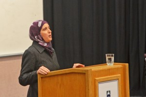 "Monia Mazigh presented ""Muslim Women Between Fiction and Reality"" in the Clock Tower's Alumni Theatre on May 13. (Wade Tomko/The Omega)"