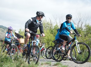 Riders seen along the Thompson River during the 2015 Ride Don't Hide event to promote awareness of mental health and the stigma against it. The Kamloops CMHA was expecting as many as 150 riders this year. (Cameron Doherty/The Omega)