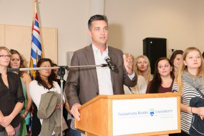 MLA Todd Stone seen at the Sept. 15 announcement at TRU. (Photo TRU)
