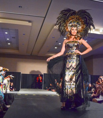 Mrs. Universe Ashley Callingbull-Burnham hits the catwalk for a cause. (Marlys Klossner/The Omega)