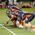 The Broncos prepare for the snap during their Sept. 26 game at Hillside Stadium. (Cameron Doherty/The Omega)