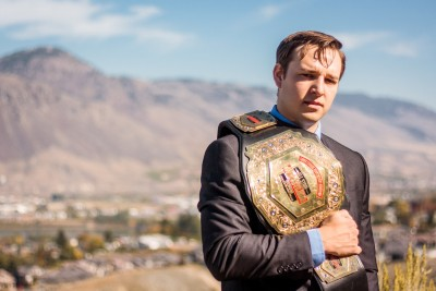 Dave Madely poses with the Trans-Canada Heavyweight Champion belt. (Afton Flynn photo)