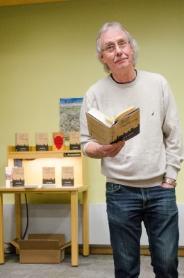 Author Ian Weir spoke to an audience at the public library downtown. (Marlys Klossner/The Omega)