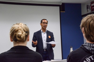NDP candidate Bill Sundhu was a guest speaker at the Oct. 6 event. (Peter Navratil/The Omega)