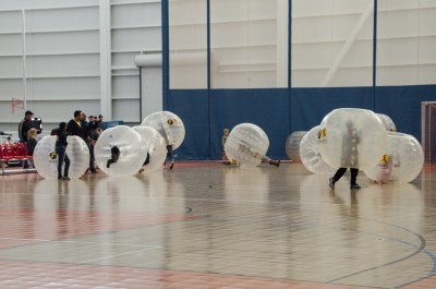 Chaos unfolds as the ball is nowhere to be seen during a game of bubble soccer. (Cameron Doherty/The Omega)