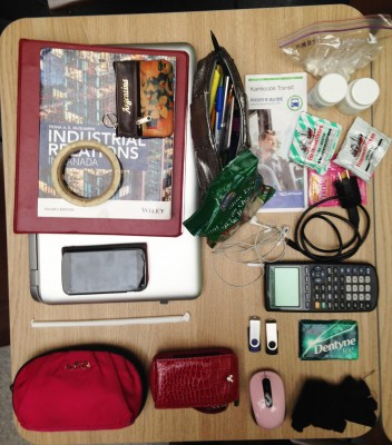 Inside the bag of Viki Santamaria, a fourth-year Human Resources student. (Annie Slizak/The Omega)