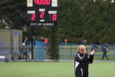 McManus, seen here after leading his team to a bronze medal win in the CCAA nationals in 2013, was fired as head coach of the women's soccer team. (TRU Athletics)