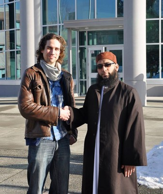 Brandon Dallamore (left) and Imam Mazhar (right) partner together to offer Arabic language classes to the Kamloops community. (Danya LeBlanc/The Omega)