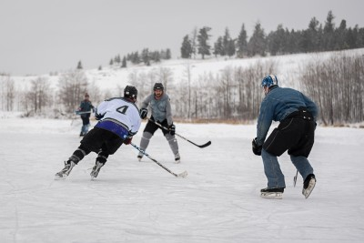 A fine-looking Canadian tuxedo on display at the Logan Lake Pond Hockey Classic. (Tristan Davies/The Omega)