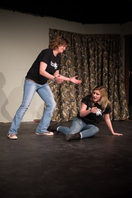 Jessica Buchanan and Montana VanVelzen of the Freudian Slips Improve Troupe. (Marlys Klossner/The Omega)