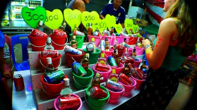 A selection of bucket combinations at a typical bar on Koh Phanan. (Roslyn Rosalia/Flickr Commons)