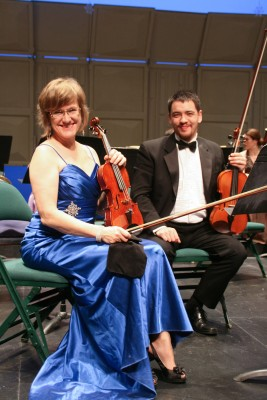 Annette Dominik and Boris Ulanowicz practise in their formalwear. (Kamloops Symphony)