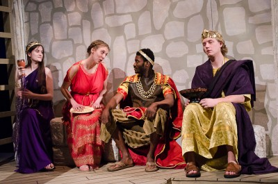 From left: Stephanie Morrison as Queen of Athens Zeuxippe, Avery Reid as Philomela, Kuup Peters as Tereus and Erik Stephany as King of Athens Pandeon I. (Marlys Klossner/The Omega)