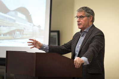 Keynote speaker Dennis Edney addresses TRU law students. (Wade Tomko/The Omega)
