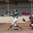 Evan Douglas, seen here playing last spring, had two RBIs in TRU's victory over Mesa Community College during their spring training trip to Arizona. (Submitted)