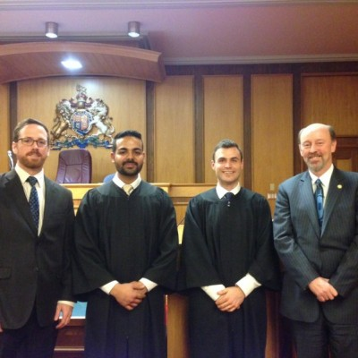 Coach Shawn Driver, TRU law students Ravneet Arora and Taylor Topliss and TRU Dean of Law Brad Morse at the BC Law Schools competitive moot. (TRU)