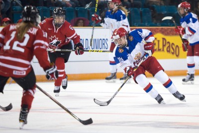 Olga Sosina rushes up the ice in Tuesday's game between Russia and Canada. (Kim Anderson/The Omega)