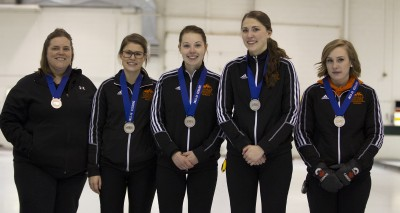 Coach Allison MacInnes, Ashley Nordin, Samantha Fisher, Erin Pincott and Corryn Brown took home a silver medal from the CIS national championships this past week. (TRU Athletics)