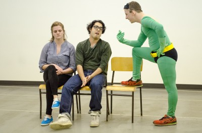 Brooke Ballum as Samuel Summers (right) shows off his homemade costume to friends Matt Norman (Daniel Ondang, middle) and Lily Leblanc (Jessica Buchanan, left). (Marlys Klossner/The Omega)