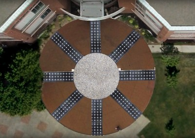 A rendering of what the installed Solar Compass would look like from above in front of AE. (Submitted)