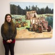 Maeghan Watkinson's paintings show off the modern reality for ranchers. (Marlys Klossner/The Omega)