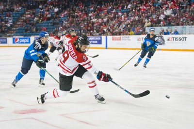 Canada's Jennifer Wakefield  takes a shot on goal in Sunday's game against Finland. (Tristan Davies/The Omega)
