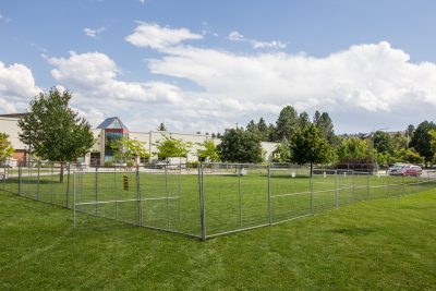 Large patches of campus green space outside Old Main will soon become two multi-use courts and one grass volleyball court. (Sean Brady/The Omega)