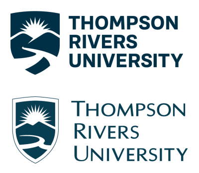 TRU's new logo (top) meant to match with the university's new branding. Below, its old logo used since 2005.