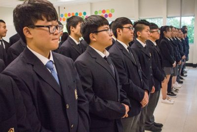 Maple Leaf University School students at the grand opening event on Thursday, Sept. 29. (Marcela Arévalo/The Omega)