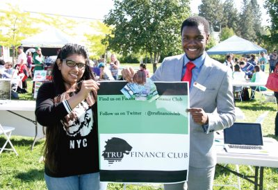 Clubs Day is a staple among TRU campus event-goers. It's filled with ways students can get involved and engage with others on campus. This is the finance club showing off in 2014. (Thompson Rivers University)