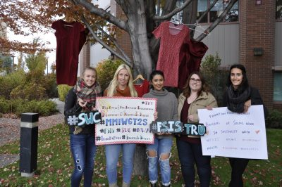 TRU social work students show their support of the vigils for Canada's missing and murdered indigenous peoples which took place across the country Oct. 4. (Sarah Kirschmann/The Omega)