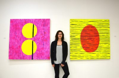 "Kathleen Lochhead with works from her new exhibit ""Relationshape"" at Padlock Studio. (Jennifer Will/The Omega)"