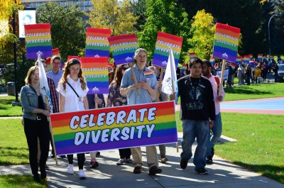 More than 200 people marching in solidarity for in the fifth annual TRUSU Pride Parade. (Jared Macarthur/The Omega)