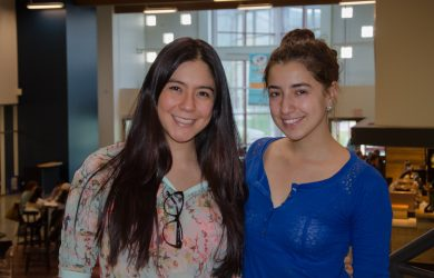Paola Guzman, left, and Maria Fernanda Bohorquez, right, are journalism exchange students from Colombia. Both support the Colombian peace agreement which was rejected earlier this month. (Martin McFarlane/The Omega)