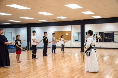 TRU Kendo Club founder Jacky Zhou running an in-class exercise. Students can now be recognized for their training thanks to the club's membership with the Canadian Kendo Federation. (Martin McFarlane/The Omega)