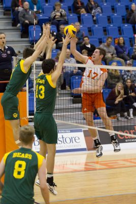 TRU's Tim Edge up over the net at this weekend's games. (TRU Athletics)