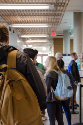 Lineups for food services on campus typically only appear at Starbucks at Tim Hortons (pictured). Other on-campus food services are usually free of lines at lunchtime. (Martin McFarlane/The Omega)