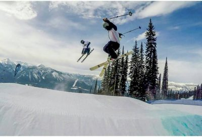 Out Here ski and snowboard club students getting air in the terrain park at Sun Peaks. (Myles Williamson/The Omega)