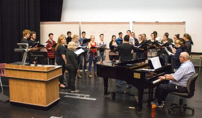 The TRUSU Chamber Chorus rehearsing for their collaborative concert with Emily Millard. (Jennifer Will/The Omega)