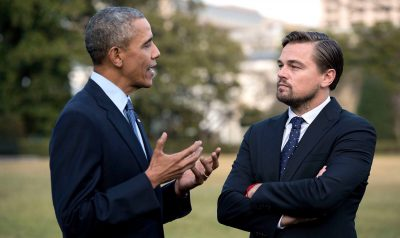 U.S. President Barrack Obama was just one of many big meetings Leonardo DiCaprio has in the film. (RatPac Documentary Films, Nat Geo)